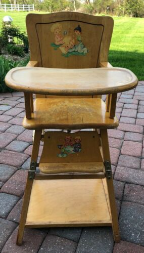 Vintage Wood Convertible High Chair Table