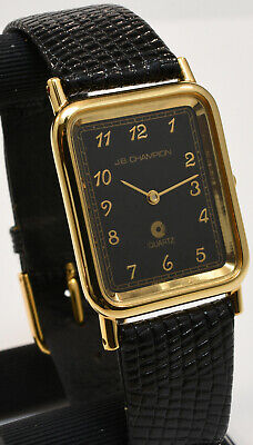 NOS French Movement JB Champion Mens Gold Tank Watch Black Dial Lizard Leather