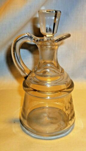 VTG SILVER LEAF VINEGAR CRUET ETCHED GLASS