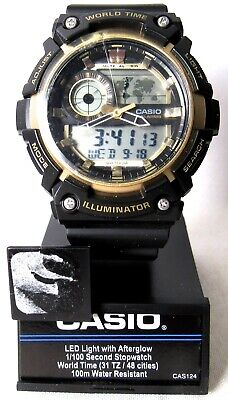 CASIO AEQ200W-9AV Men's Watch Analog Digital Alarm Chronograph World Time >NEW<