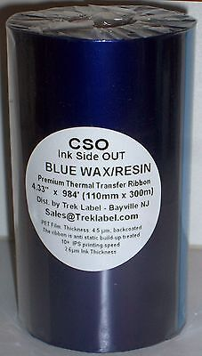 """Blue Color Thermal Transfer Wax Resin Ink 110m 4.33"""" Ribbon for Zebra Printers"""