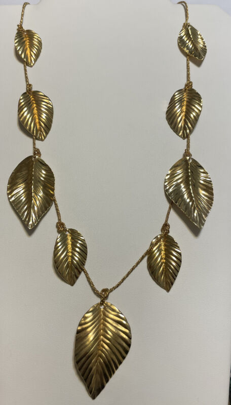 "Vintage NAPIER Gold Tone Leaf Dangle Necklace 32"""