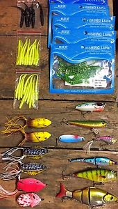 63 fishing lures soft baits hard crankbaits bass frogs walleye
