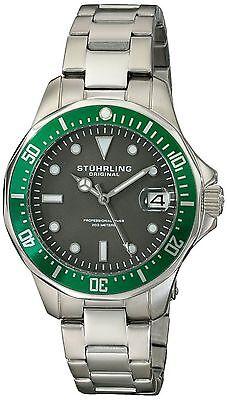 NEW Stuhrling Original 664.03 Men's Aquadiver Quartz Date Grey Dial Steel Watch