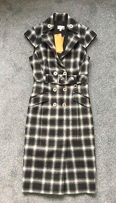 Karen Millen Coat Dress Size 10 BNWT Black white office belted