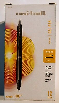 Uni-ball 307 Retractable Gel Pens Medium Point Black 12-pack 1927258 07053000674