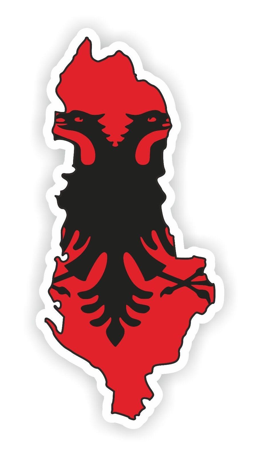 1x Map Flag Sticker Albanian Silhouette Locker Book Fridge Guitar Motorcycle