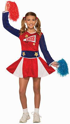 Girls Varsity Cheerleader Costume Blue and Red Cheer Dress Size Large 12-14 - Girls Cheer Costume