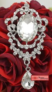 1 X Clear Glass Rhinestone Crystal Diamante Silver Brooch Pin Charm Pendant