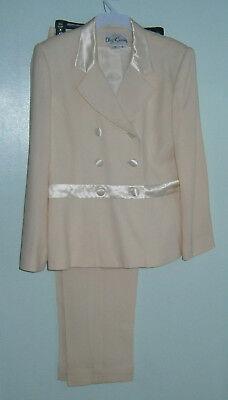 Oleg Cassini Ivory w/ Satin Buttons & Trim Blazer Jacket Pant Suit Size 10