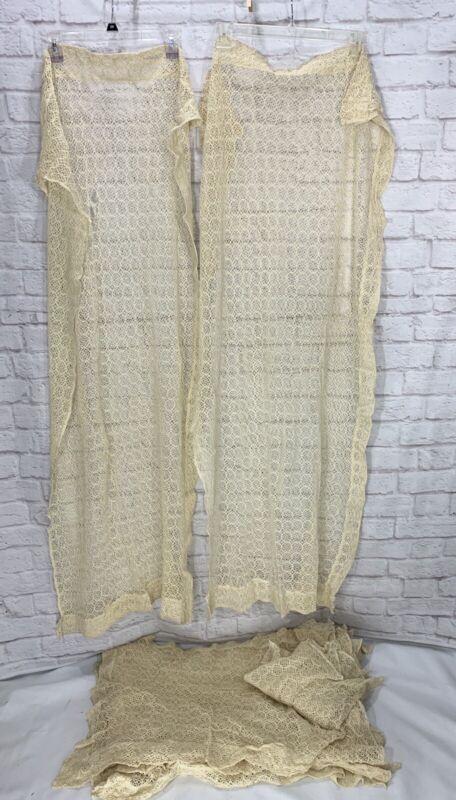 Antique Crochet Lace Curtain Panels Valance Ecru Vintage Lot Of 13
