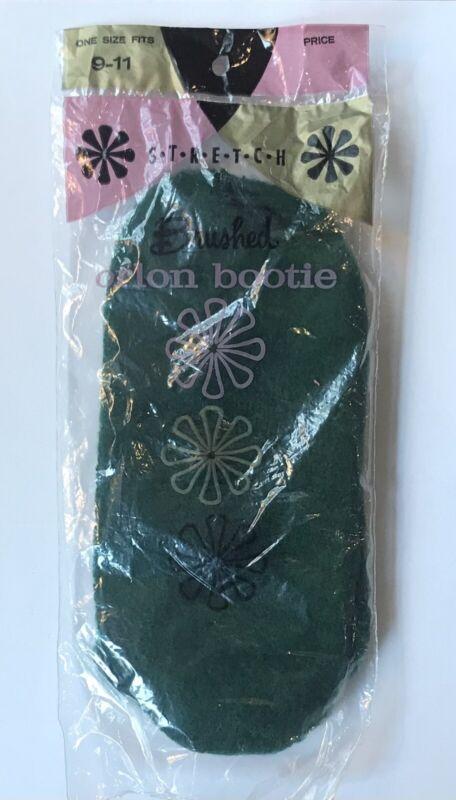 Vintage Stretch  Brushed Orlon Bootie Socks~ 9-11 Dark Green NOS