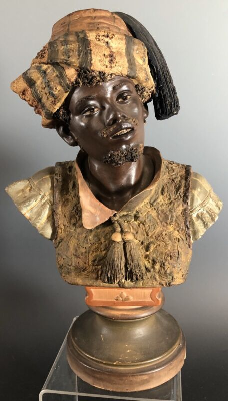 ORIENTALIST POLYCHROME DECORATED TERRACOTTA BUST GOLDSCHEIDER Style