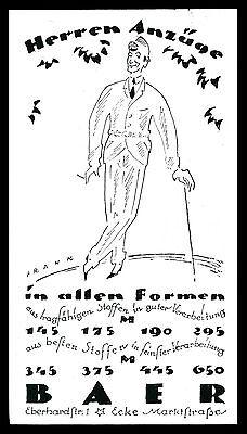 Alte Reklame Werbung 1920 BAER Herren-Anzüge in allen Formen ()