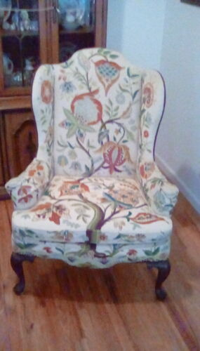 Pair of Signed Mary Webb Woodmark Queen Anne Wingback Chairs