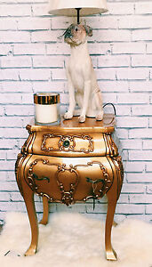 GOLD FRENCH VERSAILLES LOUIS  BOMBE STYLE CHEST OF DRAWERS BEDSIDE TABLE