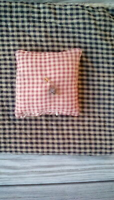 Early primitive farmhouse pin cushion ,red and white check