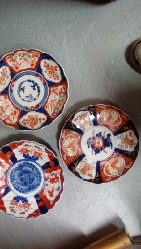 antique japanese Imari porcelan plates multi color collected 30 years ago