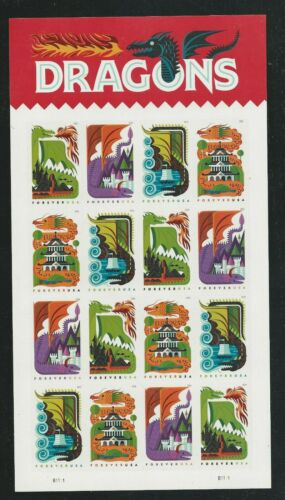 2018 #5307-5310 Dragons Mint Pane of 16 Forever Stamps