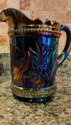 GORGEOUS WRIGHT STORKS AND RUSHES CARNIVAL GLASS PITCHER