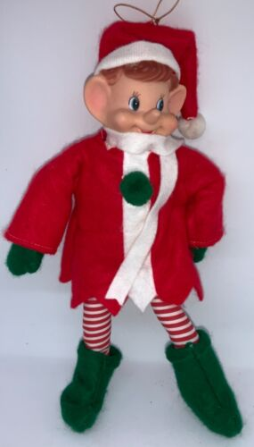 VINTAGE LARGE ELF PIXIE WITH REMOVABLE RED FELT COAT - FULLY POSEABLE!