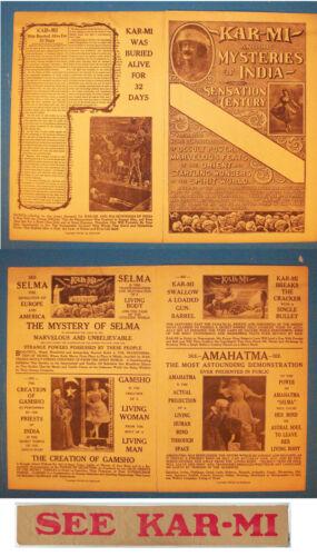 Karmi Brochure-1916 & Banner for Poster-Images of show illusions-Buried Alive-aF