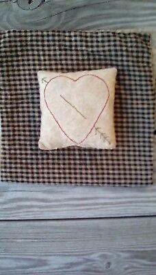 Early Primitive Farmhouse look valentine heart pin cushion