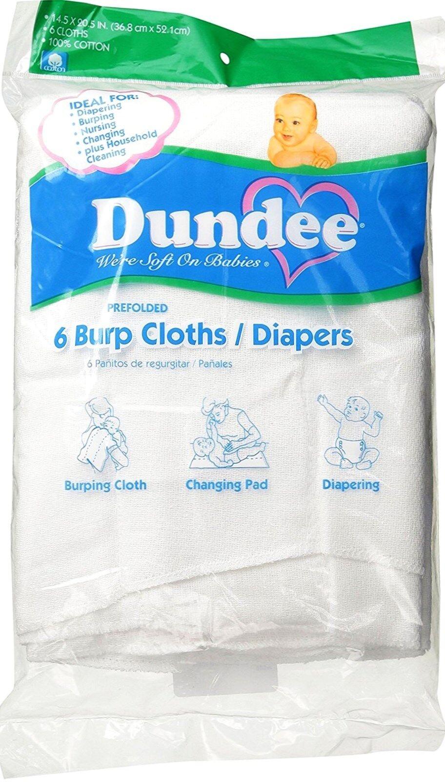 6 burp cloths diapers White 100% COTTON prefolded birdseye w
