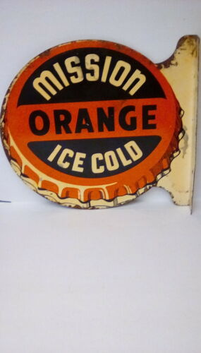 RARE Original Mission Orange Flanged metal Soda Advertising Sign
