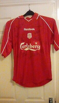 Signed liverpool fc shirt treble cup winners team 2000-2001 very rare with coa
