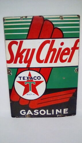 1941 SKY CHIEF TEXACO GASOLINE PORCELAIN STEEL  ADVERTISING SIGN