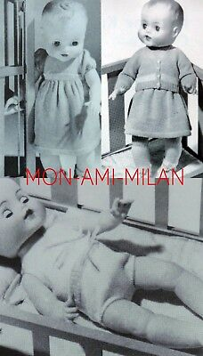 """Baby Dolls Clothes Machine Knitting Pattern Photocopy Dress Cardigan Boots + 19"""" for sale  Shipping to Nigeria"""