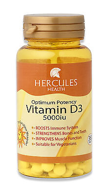 High Strength Vitamin D3 5000iu x 360 Easy to Swallow Small Vegetarian Tablets