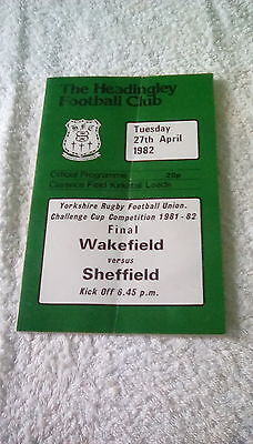 YORKSHIRE RUGBY UNION CUP FINAL WAKEFIELD V SHEFFIELD 1982 AT KIRKSTALL