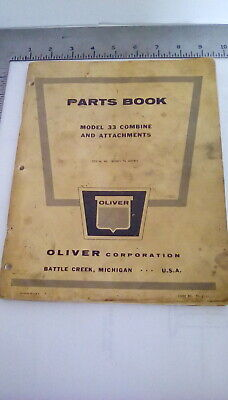 Parts Book For Oliver Model 33 Combine