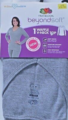 NWT L 12-14 Gray FRUIT OF LOOM Waffle Top Long Underwear Thermalwear Sleepwear