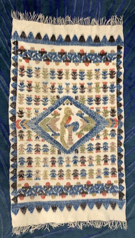 Vintage Mayan Guatemalan Ethnic Wool Blanket Folk Art Good Condition 3 X 6 Feet