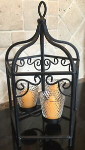 "Cast Iron Lantern Glass Candle votives 12 3/4"" Handle x 8"" diam."