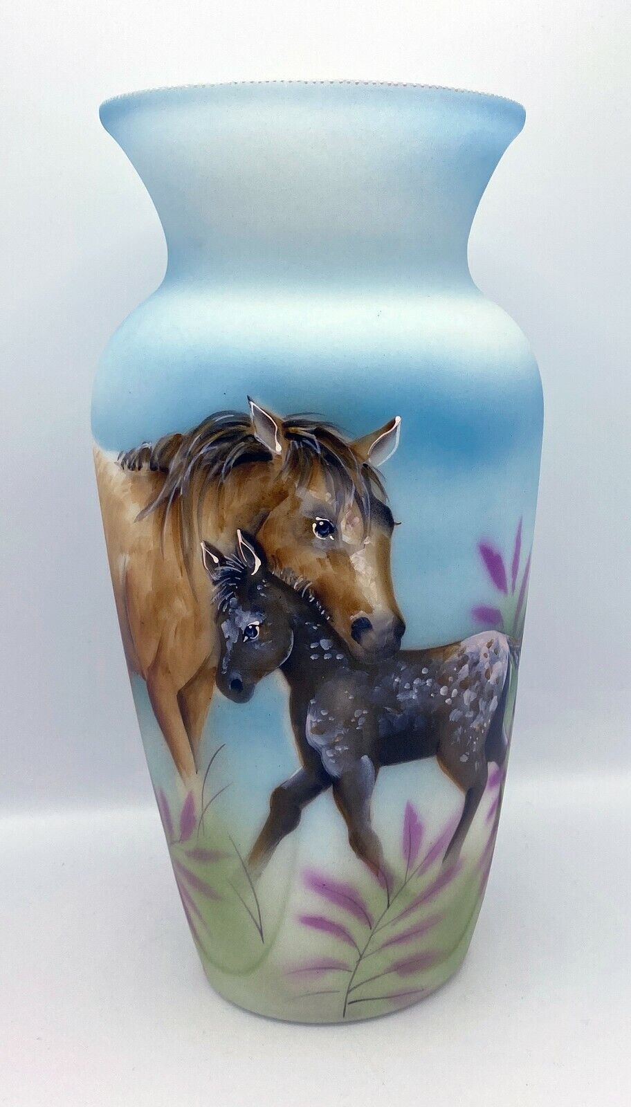 Fenton Art Glass OOAK Painted Horse And Foal On Opal Vase By Robin Spindler - $428.58