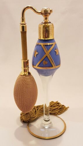 Perfume Atomizer 1920s by Aristo (DeVilbiss-type) beautiful gold-blue design