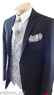 New Men Silver Paisley Dress Vest Waistcoat & Neck tie And Hanky Set Prom Formal