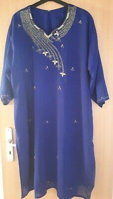 indisches Kostüm Größe XXL 3 teilig bestickt blau, Hose mit Bindeband Sari
