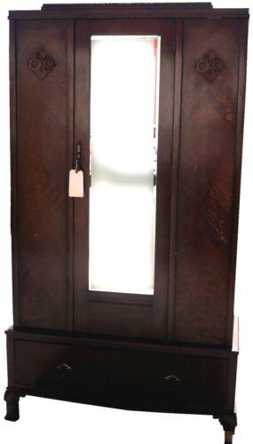 Vintage Art Deco Mirrored Wardrobe Dresser with Linen Drawer
