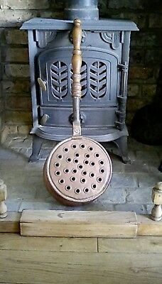 beautiful antique copper chestnut roaster/ popcorn popper/bed warmer