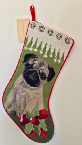 Fawn pug needlepoint stocking- not a kit ...new style 1