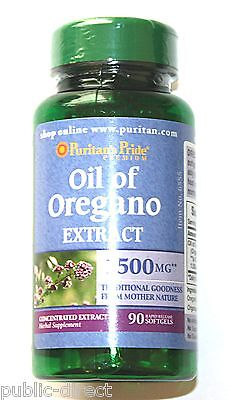 Dairy Free - Oil of Oregano Extract 1500 mg 90 Softgels Gluten Dairy Free Natural Capsules