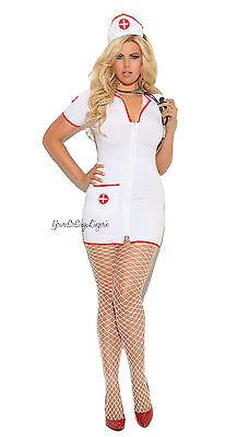PLUS SIZE Sexy NAUGHTY NURSE COSTUME UNIFORM Mini Dress Zipper Front Head Piece - Plus Size Naughty