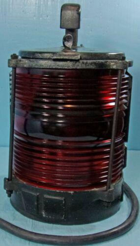 VTG. MARINE NAVIGATION LIGHT FIXTURE RED FRESNEL GLASS LENS