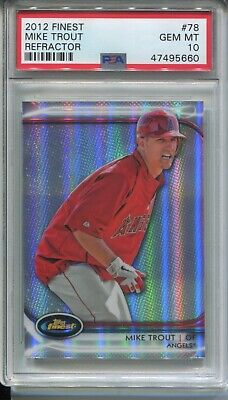 2012 TOPPS FINEST MIKE TROUT REFRACTOR CARD #78 GEM MINT PSA 10