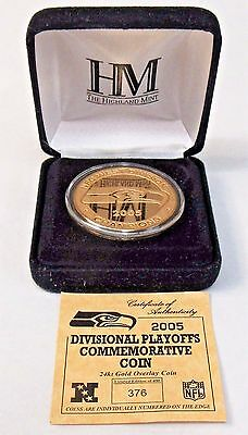 2005 SEATTLE SEAHAWKS PLAYOFFS 24K Commemorative Coin medal HIGHLAND MINT MIB
